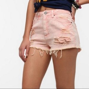 BDG pink high rise Dree Cheeky distressed shorts